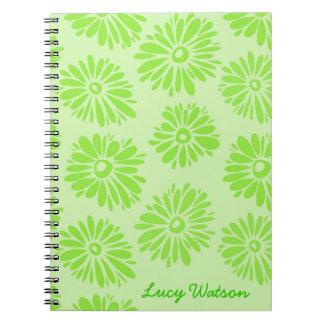 Grünes Blumen-Notizbuch Spiral Notizblock