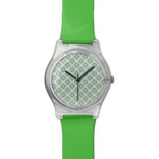 Grünes Blumendamast-Muster - RetroFlat Uhren