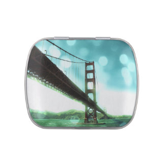 Grünes Bokeh Golden gate bridge Jelly Belly Dosen