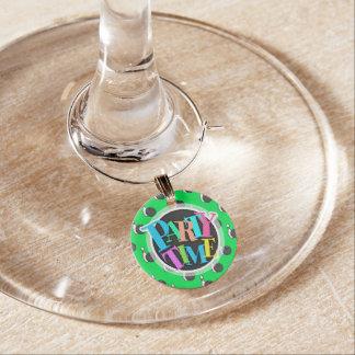 Grünes Bowlings-Ball-Neonmuster Weinglas Anhänger