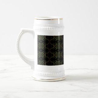 Grünes, braunes und schwarzes Retro Blumenmuster Bierglas