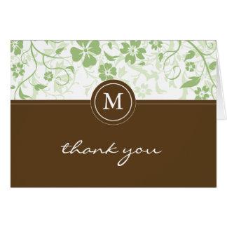 Grünes Brown-mit Blumenmonogramm danken Ihnen zu Karte