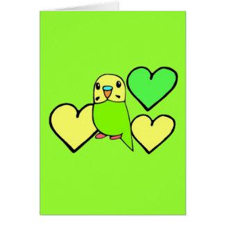 Grünes Budgie mit Herzen Karte