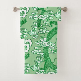 Grünes chinesisches Drache-Muster Badhandtuch Set