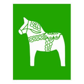 Grünes Dala Pferd Postkarte