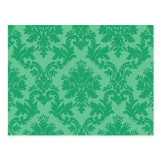 Grünes Damast-Muster Postkarte