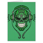 Grünes DJ zuckern Schädel Karten