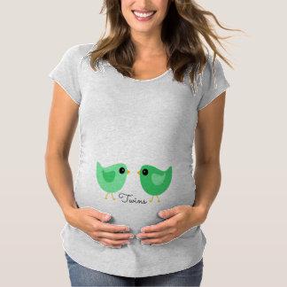 Grünes Doppelvogel-Mutterschafts-Shirt Schwangerschafts T-Shirt