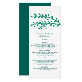 Grünes einfaches Laub-Hochzeits-Menü 10,2 X 23,5 Cm Einladungskarte