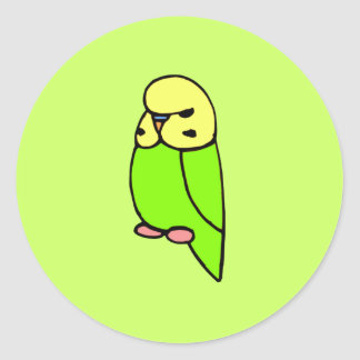 Grünes Englisch Budgie Runder Sticker