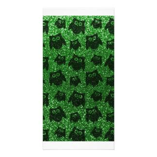 Grünes Eulen-Glittermuster Bild Karte