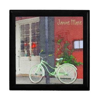 Grünes Fahrrad in den Brushstrokes Erinnerungskiste