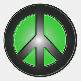 Grünes Friedenszeichen Runder Aufkleber