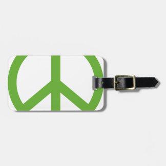 Grünes Friedenszeichen-Symbol Gepäckanhänger