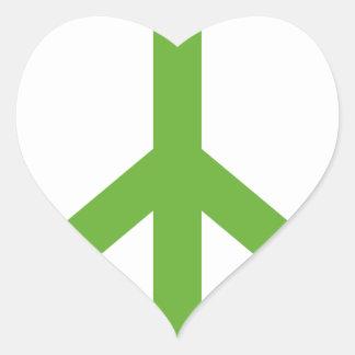 Grünes Friedenszeichen-Symbol Herz-Aufkleber