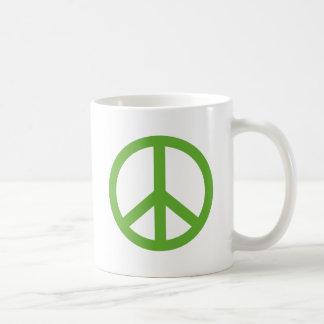 Grünes Friedenszeichen-Symbol Kaffeetasse