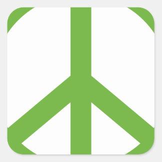 Grünes Friedenszeichen-Symbol Quadratischer Aufkleber