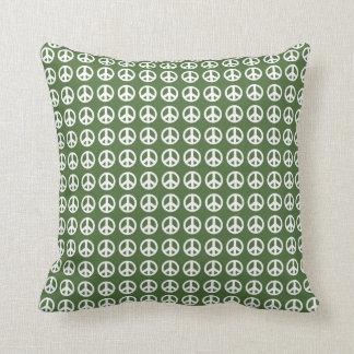 Grünes Friedenszeichen-Wurfskissen Kissen