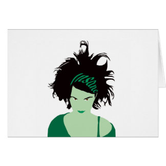 Grünes geisteskrankes Mädchen Karte