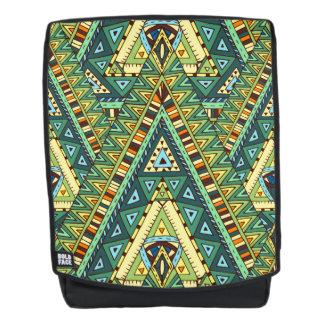 Grünes gelbes boho ethnisches Muster Rucksack