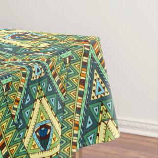 Grünes gelbes boho ethnisches Muster Tischdecke