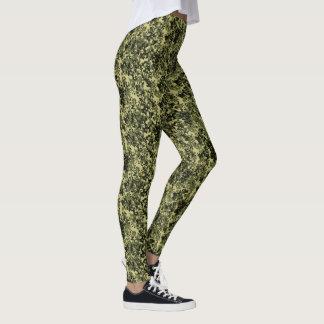 Grünes gelbes Schwarzes Tarnungs-Campos Leggings