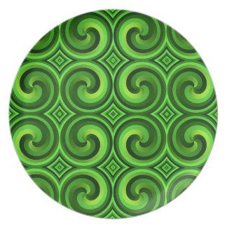 Grünes gelocktes Muster Teller