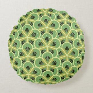 Grünes geometrisches Blumen-Muster-rundes Kissen