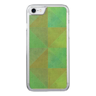 Grünes geometrisches Kunst-Dreieck-Muster Carved iPhone 8/7 Hülle