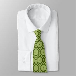 Grünes geometrisches Muster-Krawatte Teil 1 Krawatten