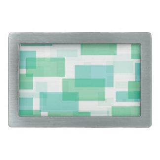 Grünes geometrisches Quadratmuster Rechteckige Gürtelschnalle