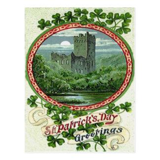 Grünes Geschwätz-Schloss-Irland-Kleeblatt Postkarte