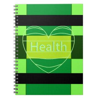 Grünes Gesundheits-Notizbuch Spiral Notizblock