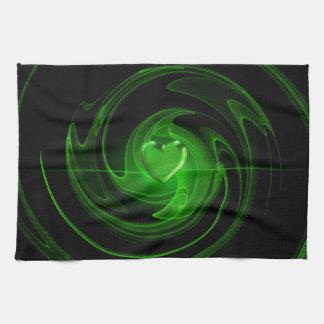 Grünes gewundenes Herz Geschirrtuch