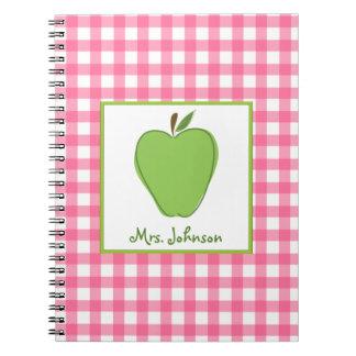 Grünes Gingham-Lehrer-Notizbuch Apples rosa Spiral Notizbücher