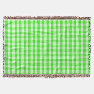 Grünes Gingham-Neonmuster durch Shirley Taylor Decke