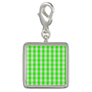 Grünes Gingham-Neonmuster durch Shirley Taylor Foto Anhänger