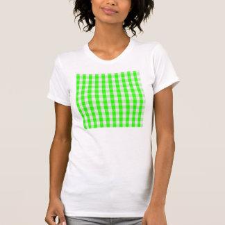 Grünes Gingham-Neonmuster T-Shirt