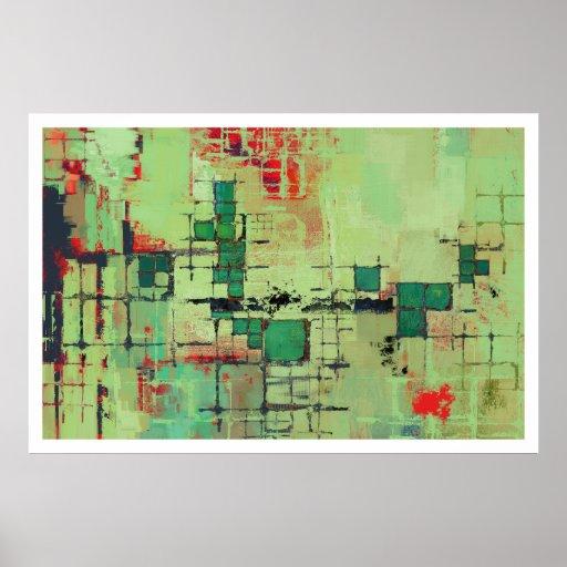 Grünes Gitter-abstrakter Kunst-Druck Plakatdruck