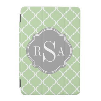 Grünes Gitter-Muster-graues Monogramm-Trio iPad Mini Hülle