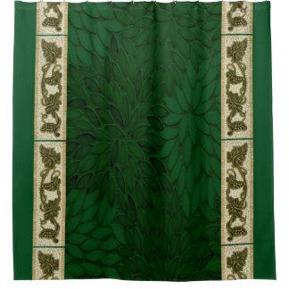 Grünes Glas-Blumenblattvorhang Duschvorhang