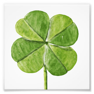 Grünes glückliches vierblättriges Kleeblatt Fotodruck