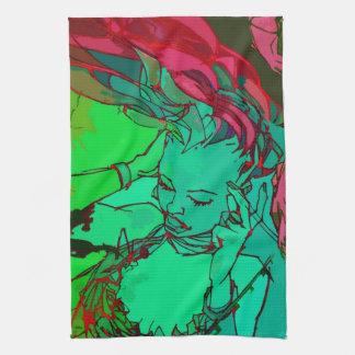 Grünes Graffitimädchen Handtuch