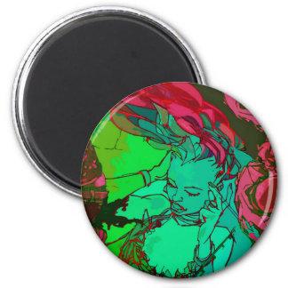 Grünes Graffitimädchen Runder Magnet 5,1 Cm
