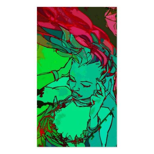 Grünes Graffitimädchen Visitenkartenvorlage