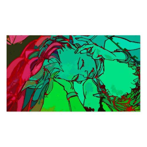 Grünes Graffitimädchen Visitenkarten Vorlage
