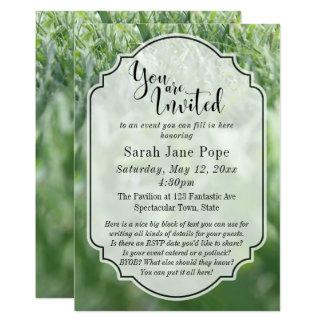 Grünes Gras-Foto, lässiges Party im Freienoder 12,7 X 17,8 Cm Einladungskarte