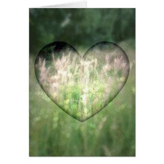 Grünes Gras-Herzen Karte