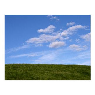 Grünes Gras und blauer Himmel Postkarte