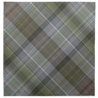 Grünes graues braunes kariertes Muster Stoffserviette